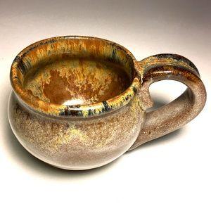 Hand-thrown mug, Buff Umber w/sienna yellow NWOT